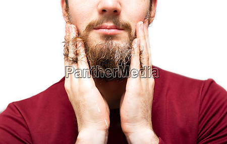 man with beard soap or shampoo