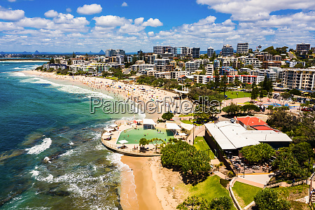 aerial view of kings beach caloundra