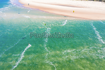 aerial view of kitesurfers in caloundra