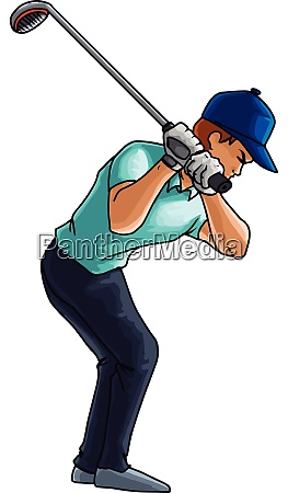 golf player swings with a golf