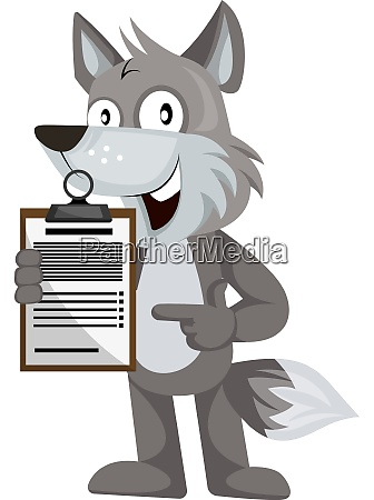 wolf with schedule illustration vector on