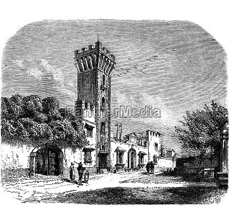 tower at panciatichi palace vintage engraving