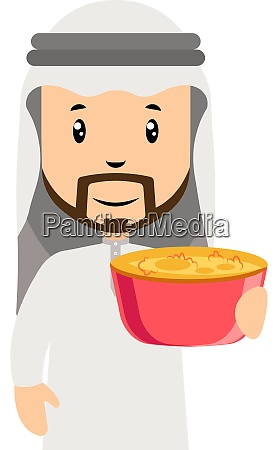 arab men with food illustration vector