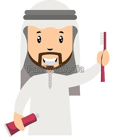 arab men with tooth brush illustration