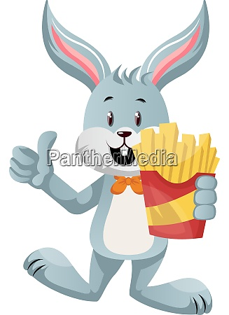 bunny with french fries illustration vector