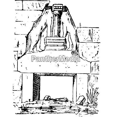 the lion gate vintage engraving