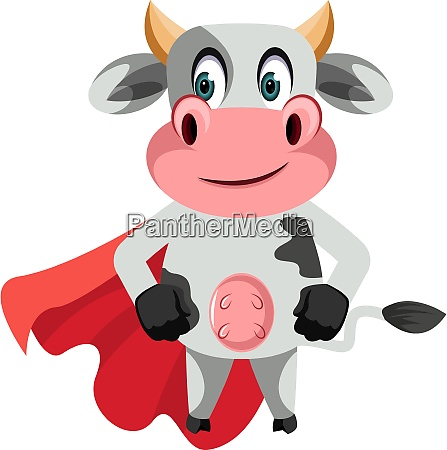 cow with red cape illustration vector