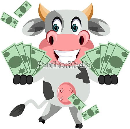 cow with money illustration vector on