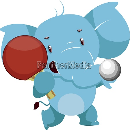 elephant with racket illustration vector on