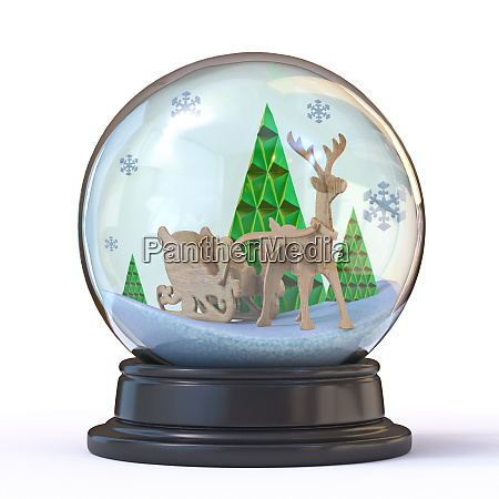 snow ball with forest reindeer and
