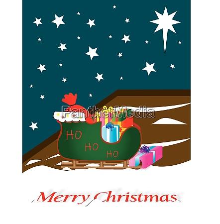 santa sleigh full of gifts outside