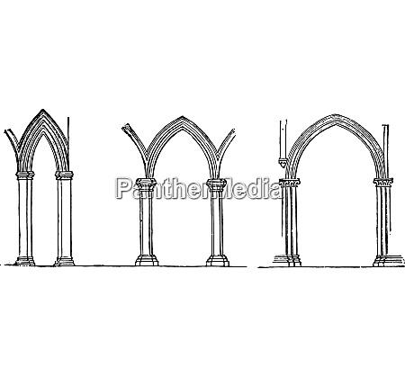 ogival shapes vintage engraving