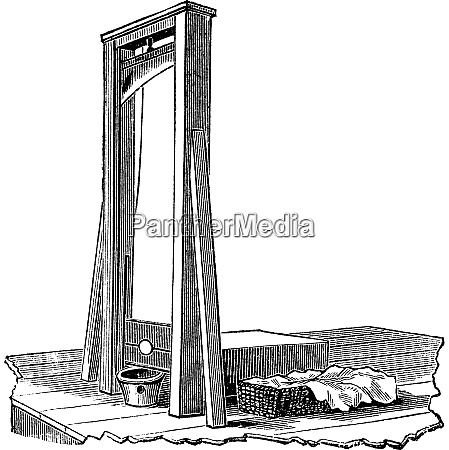 guillotine isolated on white vintage engraving