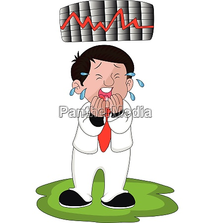 vector of crying businessman with chart