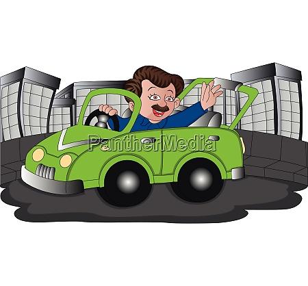 vector of man waving while driving