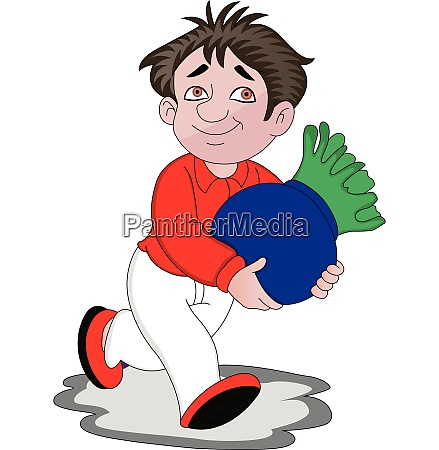 vector of man running with pot