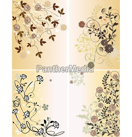set of four illustrations with spring