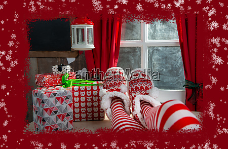 santa woman legs with gifts