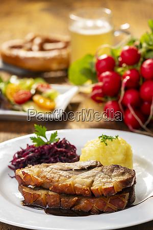 bavarian roasted pork with dumplings and