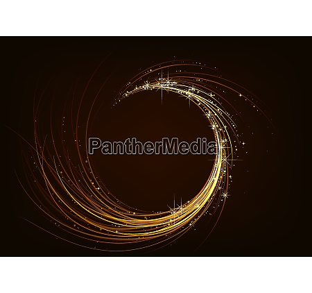 golden sparkling spiral on dark background