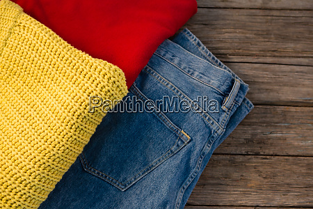 overhead view of warm clothing with