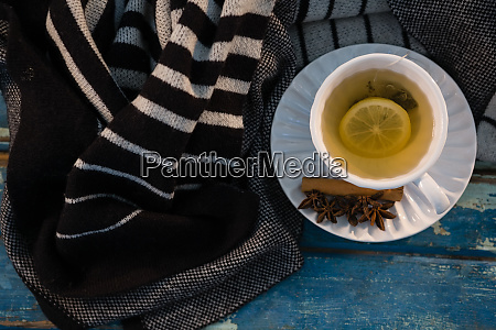 overhead view of green tea by