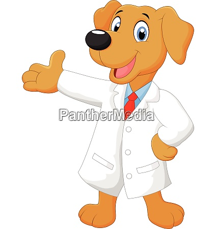carton doctor dog posing