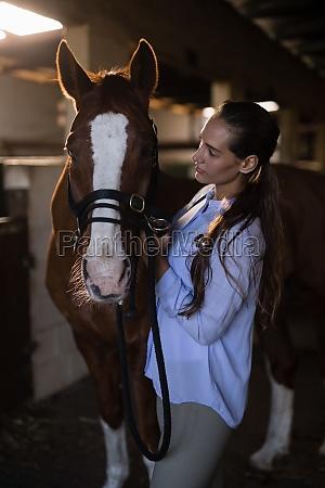 female vet examining brown horse