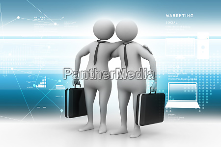 business partners with business bag in