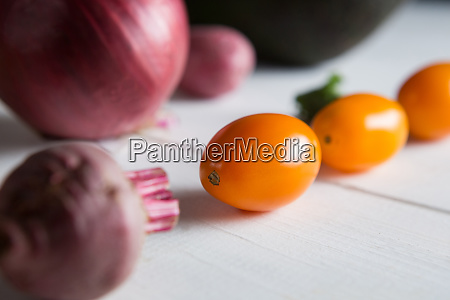 close up of cherry tomatoes with