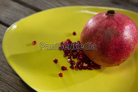 pomegranate in a table on a