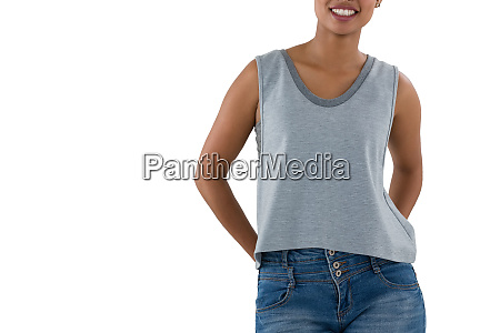 mid section of smiling woman