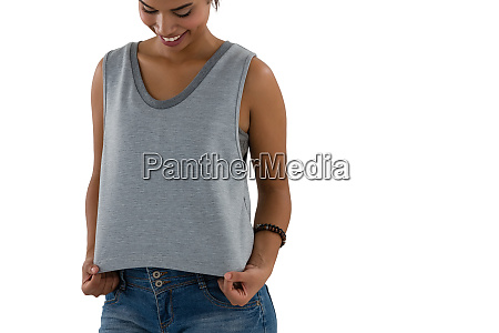 smiling young woman in casual clothing