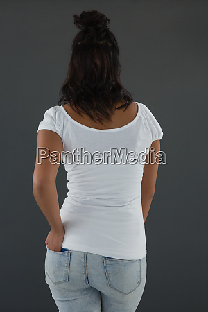 rear view of young woman standing