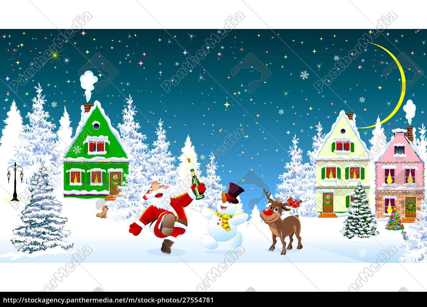 santa, claus, snowman, deer, celebrate, christmas - 27554781