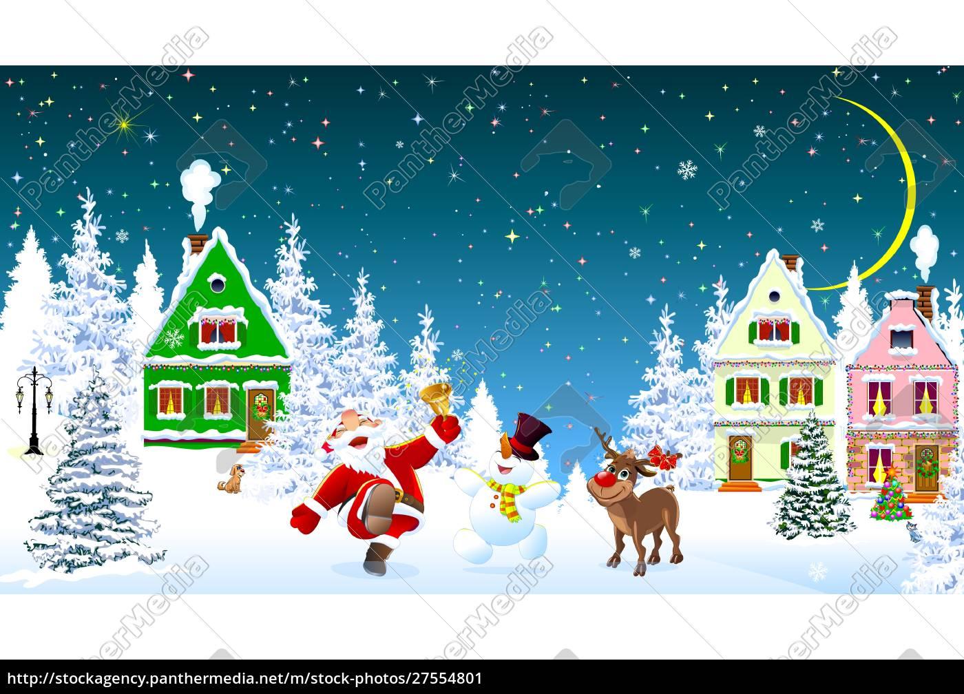 santa, claus, snowman, deer, celebrate, christmas - 27554801