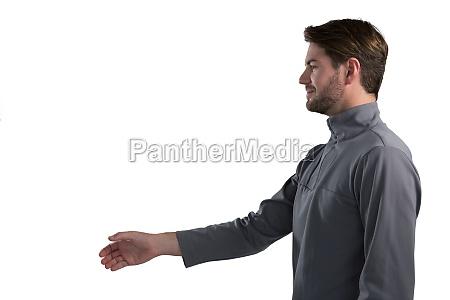 man pretending to shake hands