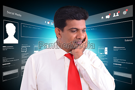 man thinking networking with virtual