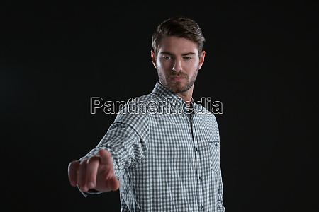 man using invisible screen