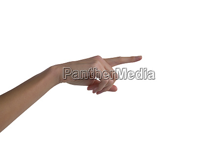 womans hand using invisible screen