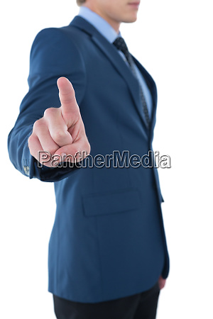 side view of businessman using invisible