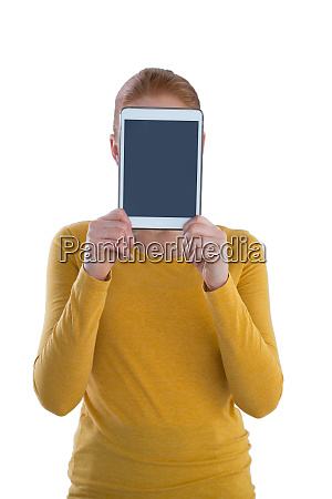 businesswoman holding digital tablet in front