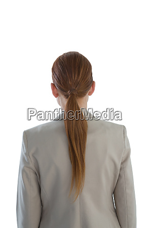 rear view of businesswoman with redhead