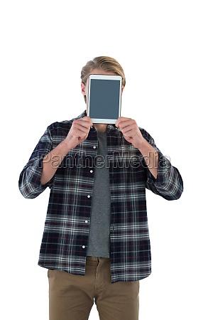 businessman holding digital tablet in front