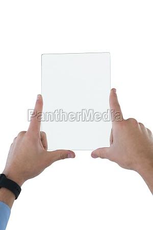 cropped hands on businessman holding transparent