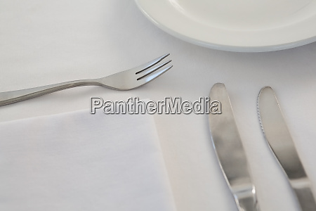 cutlery with napkin arranged on white