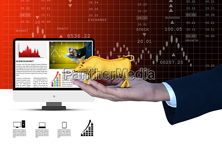 man hand showing the stock market