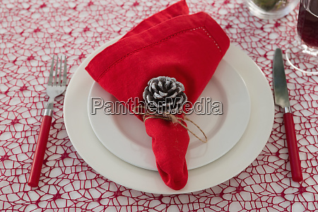 pine cone and napkin on a