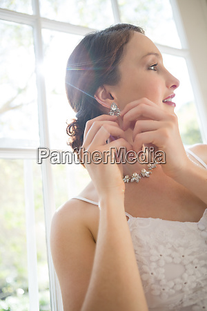low angle view of beautiful bride
