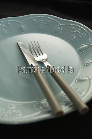 plate and cutlery set on a